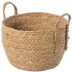 Decorative Round Large Wicker Woven Rope Storage Blanket Basket with Braided Handles