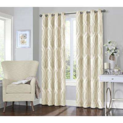 Caprese 95 in. L Ivory Grommet Curtain (1-Pack)