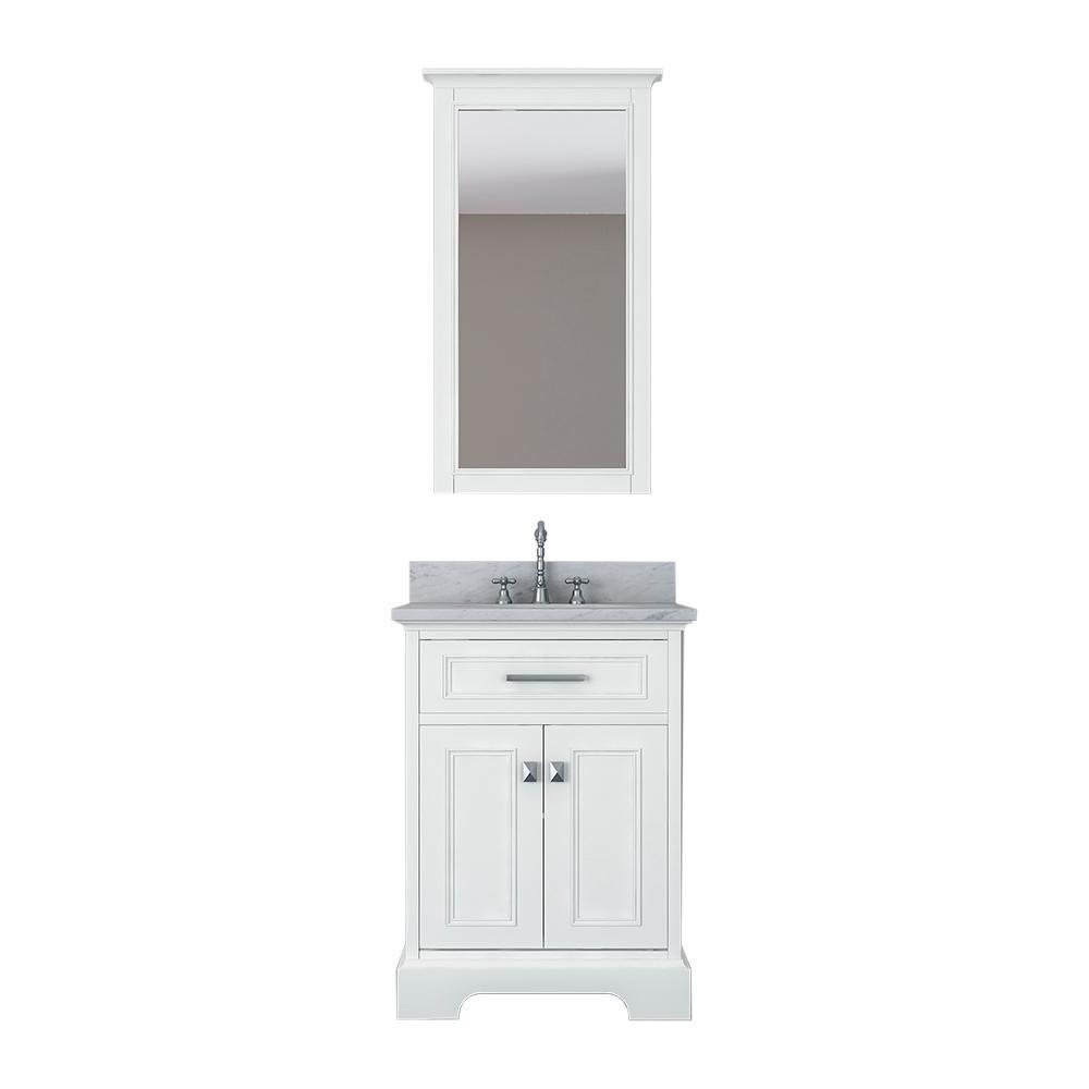 Design Element Laxton 25 in. W x 22 in. D Bath Vanity in White with Marble Vanity Top in White with White Basin and Mirror