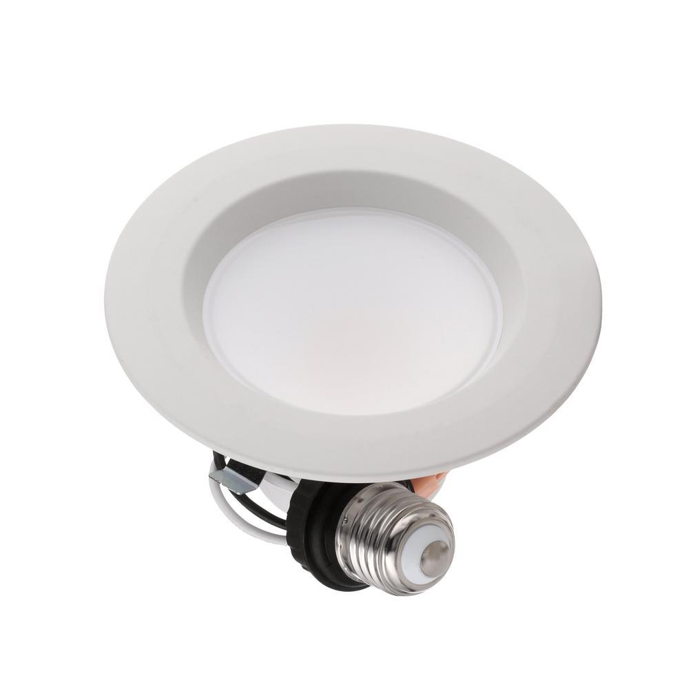 Matte White Integrated LED Recessed Trim Commercial Electric 4-Pack 4 in