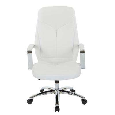 Clifton Office Chair with White Mesh and White Faux Leather