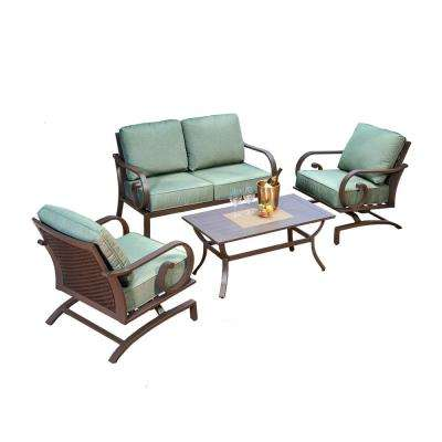 Milano 4-Piece Metal Patio Deep Seating Set with Teal Cushions