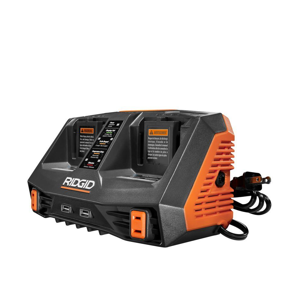 Ridgid 18-Volt GEN5X Dual Port Dual Chemistry Sequential Charger with Dual USB Ports