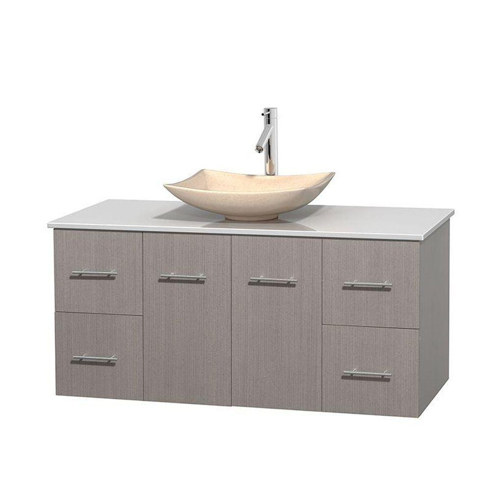 Wyndham Collection Centra 48 in. Vanity in Gray Oak with Solid-Surface Vanity Top in White and Sink