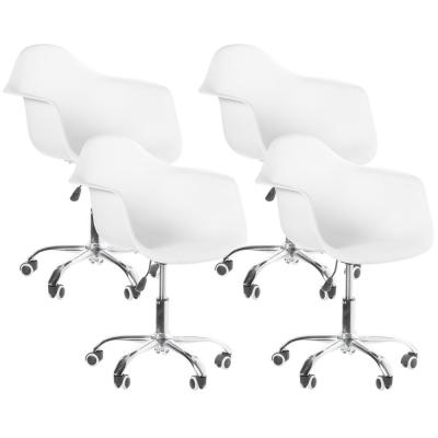 Mid-Century Modern White Style Swivel Plastic Shell Molded Office Task Chair with Rolling Wheels (Set of 4)