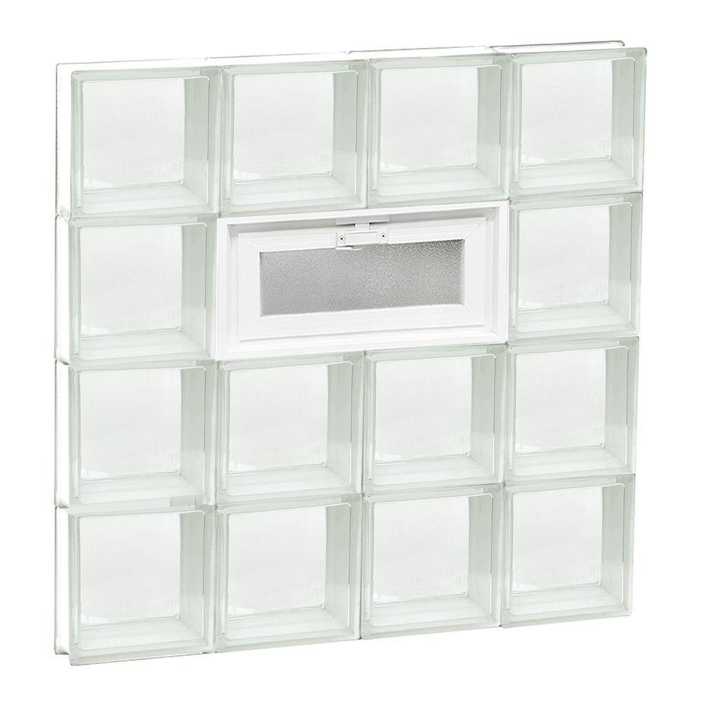 31 in. x 31 in. x 3.125 in. Frameless Vented Clear Glass Block Window
