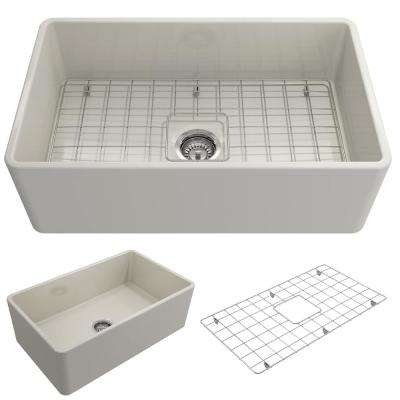 Classico Farmhouse Apron Front Fireclay 30 in. Single Bowl Kitchen Sink with Bottom Grid and Strainer in Biscuit