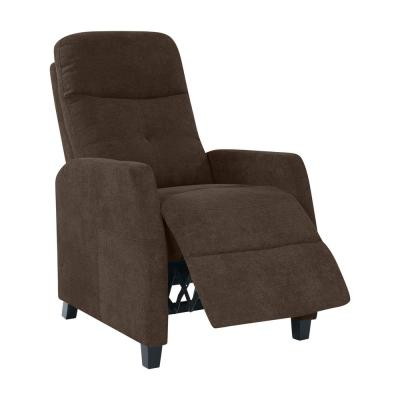 Chocolate Brown Chenille Upholstered Push Back Recliner Chair
