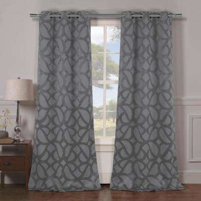 Charlotte 38 in. x 84 in. L Polyester Blackout Curtain Panel in Grey (2-Pack)