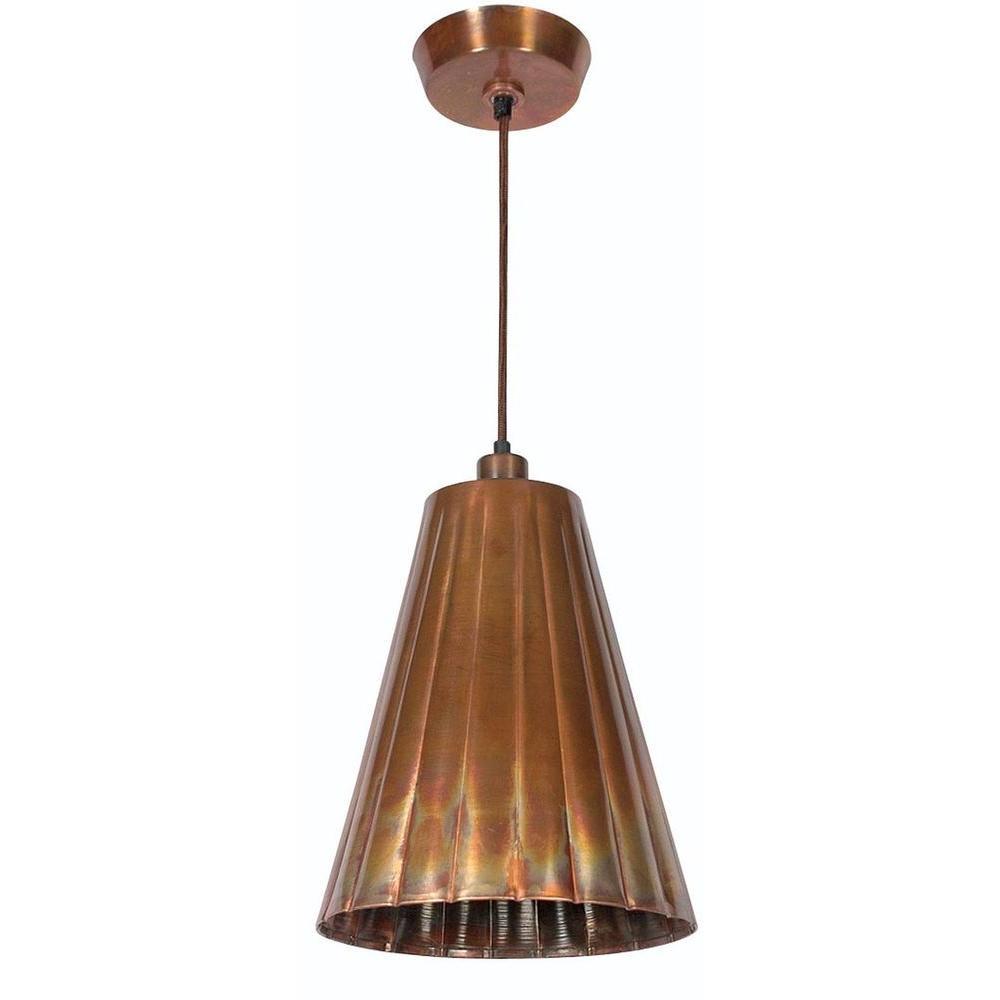 Flute 1-Light Flamed Copper Pendant