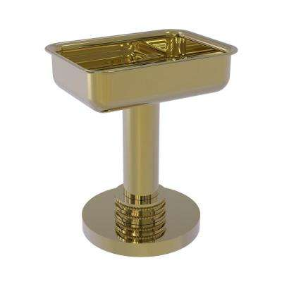 Vanity Top Soap Dish with Dotted Accents in Unlacquered Brass