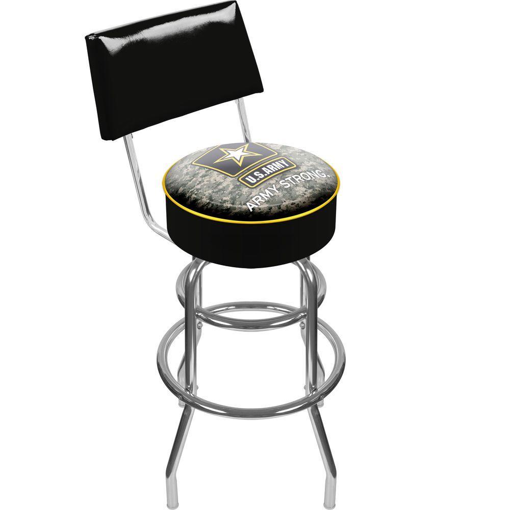 Trademark U.S. Army Digital Camo 30 in. Chrome Padded Swivel Bar Stool