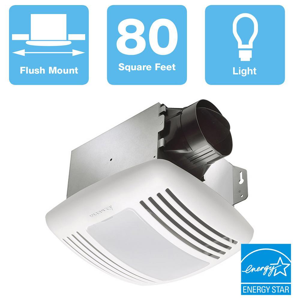 Delta Breez GreenBuilder Series 80 CFM Ceiling Bathroom Exhaust Fan with Light, ENERGY STAR