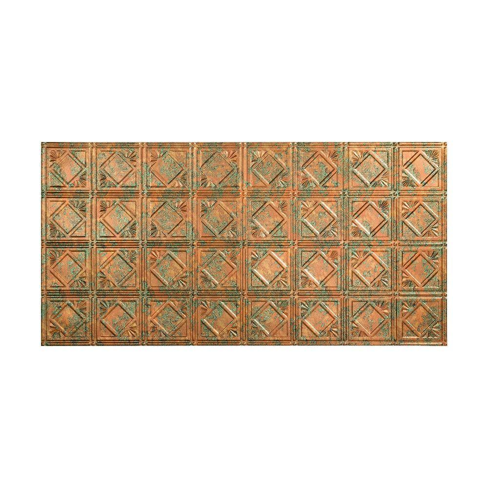Fasade Traditional 4 - 2 ft. x 4 ft. Glue-up Ceiling Tile in Copper Fantasy