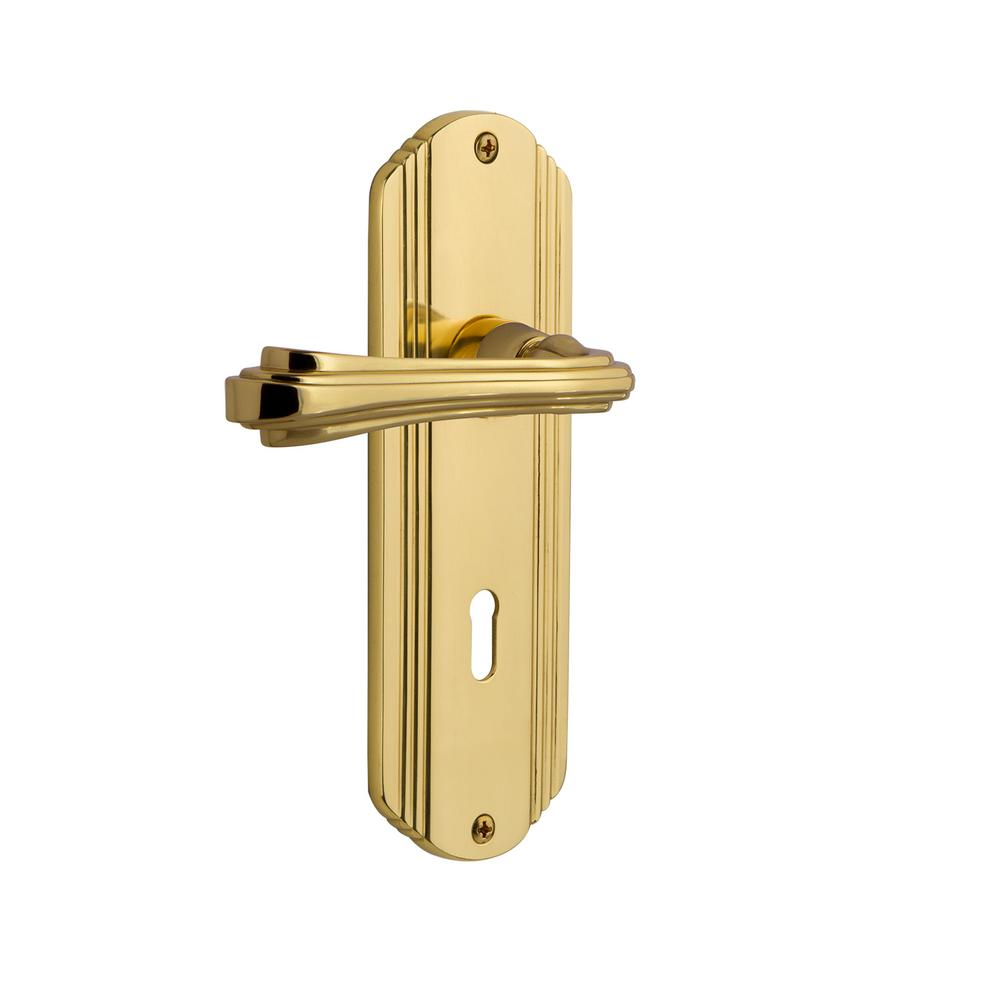 Nostalgic Warehouse Deco Plate 2-3/4 in. Backset Unlacquered Brass Privacy Bed/Bath Door Lever with Keyhole Fleur