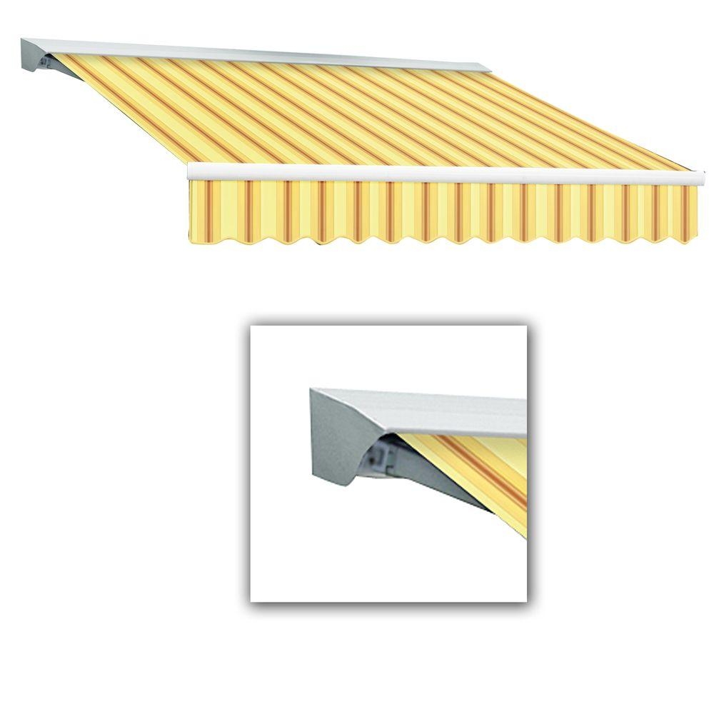 AWNTECH 10 ft. LX-Destin Hood Left Motor with Remote Retractable Acrylic Awning (96 in. Projection) in Color Yellow/Terra