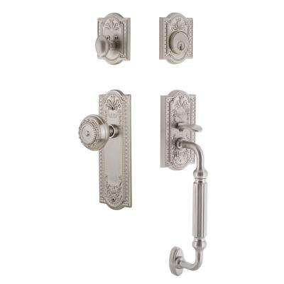 Meadows Plate 2-3/4 in. Backset Satin Nickel F Grip Entry Set Meadows Knob