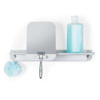 Aluminum Glide Shower Shelf in Grey with Mirror