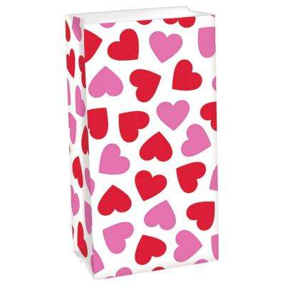 10 in. x 5.25 in. x 3 in. Valentine's Day Pink and Red Heart Paper Treat Bag (12-Count 4-Pack)