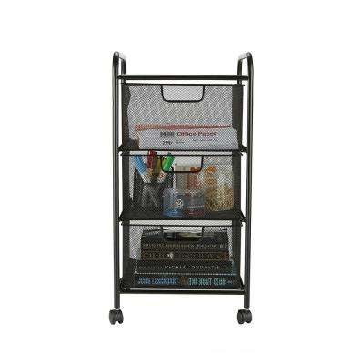 3 Drawer Mesh Rolling Cart, Metal Storage, Drawers, File Storage, Utility Cart, Heavy Duty Multi-Purpose Cart in Black
