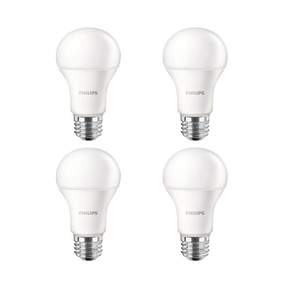 Philips 100-Watt Equivalent A19 Non-Dimmable Energy Saving LED Light Bulb Soft White (2700K) (4-Pack)