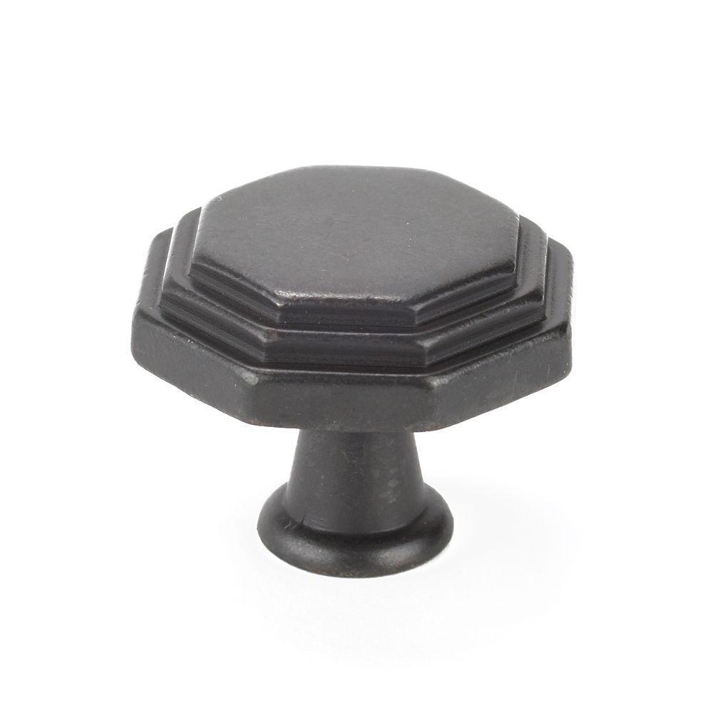 Italian Designs Collection 1 in. Dark Bronze Octagon Cabinet Knob