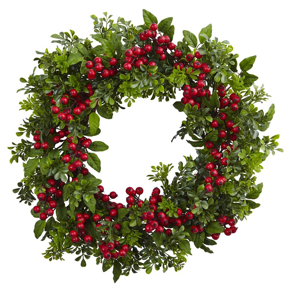 Nearly Natural 24 in. Berry Boxwood Wreath