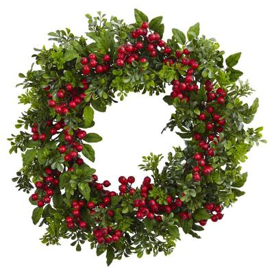 24 in. Berry Boxwood Wreath