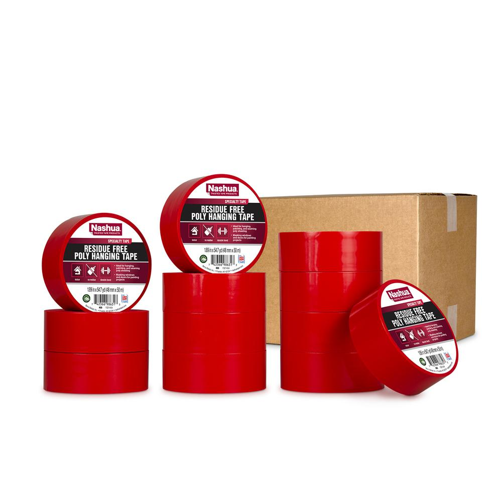 Nashua Tape 1.89 in. x 54.7 yd. Residue Free Poly Hanging Tape in Red (12-Pack)