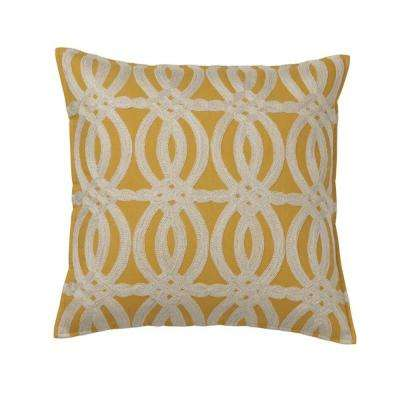 Embroidered Decorative Pillow Cover in Gold Ikat, 18 in. x 18 in.
