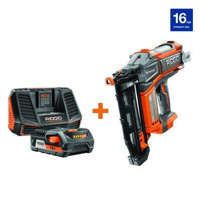 HYPERDRIVE 18-Volt Brushless 16-Gauge 2-1/2 in. Straight Nailer with Hyper Lithium-Ion 2.0Ah Starter Kit