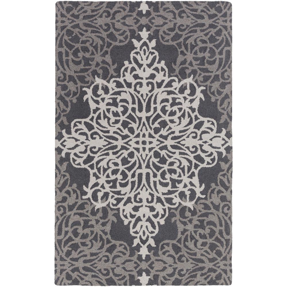 Hermitage Faith Charcoal 5 ft. x 8 ft. Indoor Area Rug