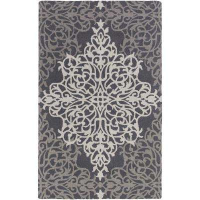 Hermitage Faith Charcoal 9 ft. x 13 ft. Indoor Area Rug