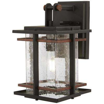 San Marcos 1-Light Black with Antique Gold Accents Outdoor Wall Mount Lantern