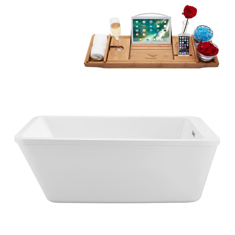 60 in. Acrylic Flatbottom Non-Whirlpool Bathtub in Glossy White