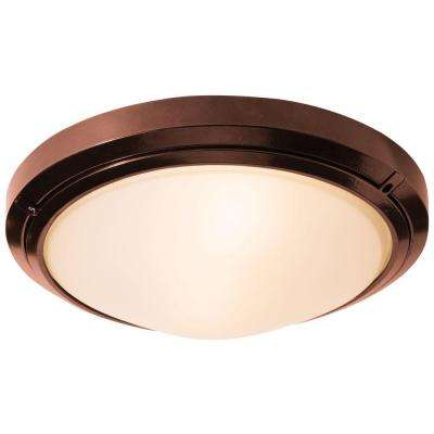 Oceanus 2-Light Bronze Outdoor Flush/Wall Mount with Frosted Glass Shade