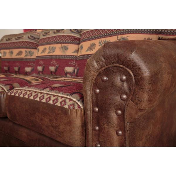 American Furniture Clics Sierra Lodge Microfiber And Tapestry Brown Pattern With Nail Head Accents Sleeper Sofa 8505 10 The Home Depot