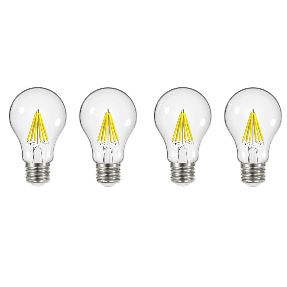 EcoSmart 60-Watt Equivalent A19 Dimmable Energy Star Clear Filament Vintage Style LED Light Bulb Soft White (4-Pack)