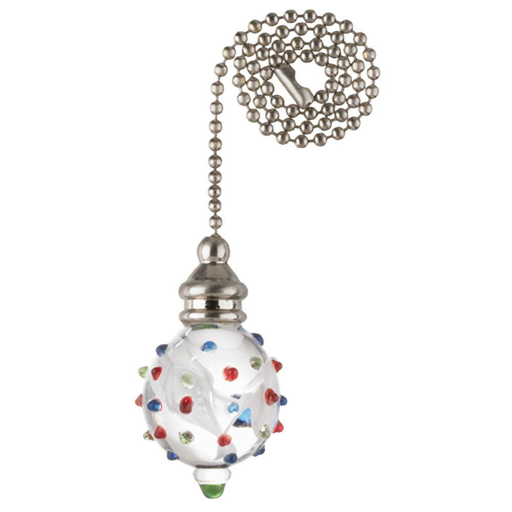 Westinghouse White Swirl Glass Orb with Colored Dots and Nickel Accents Pull Chain