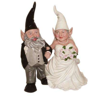 14 in. H Bride and Groom Wedding Gnome Married Couple Home and Garden Gnome Collectible Statue