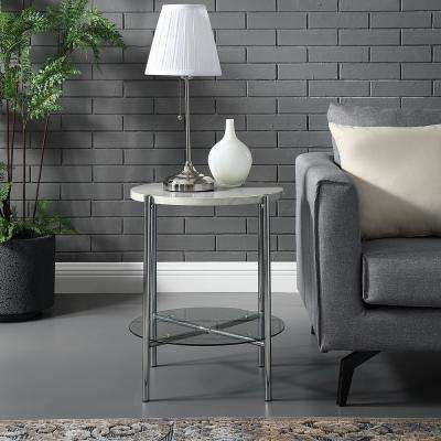 White Marble Top Gl Shelf Chrome Legs Round Side Table