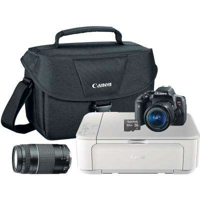 EOS Rebel T6i 18-55 mm Lens and 75-300 mm Lens Camera with Shoulder Bag, Black All-in-One Printer and 16GB MicroSD Card