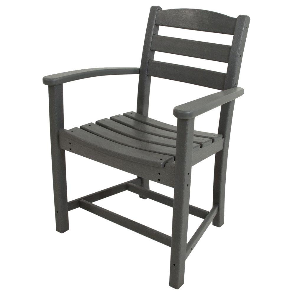 La Casa Cafe Slate Grey All-Weather Plastic Outdoor Dining Arm Chair