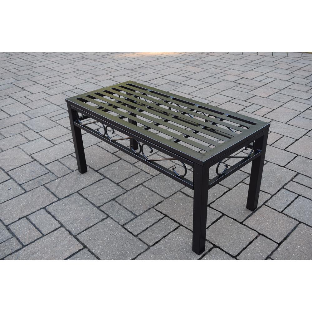Aluminum Patio Coffee Table: Noble Hammertone Brown Metal Outdoor Coffee Table-HD6078