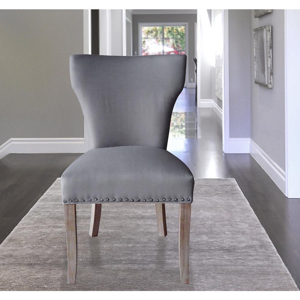 Null Sleek Grey Linen Dining Chair (Set Of 2)