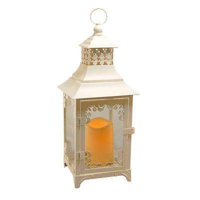 15 in. Warm White Swirl Metal LED Lantern