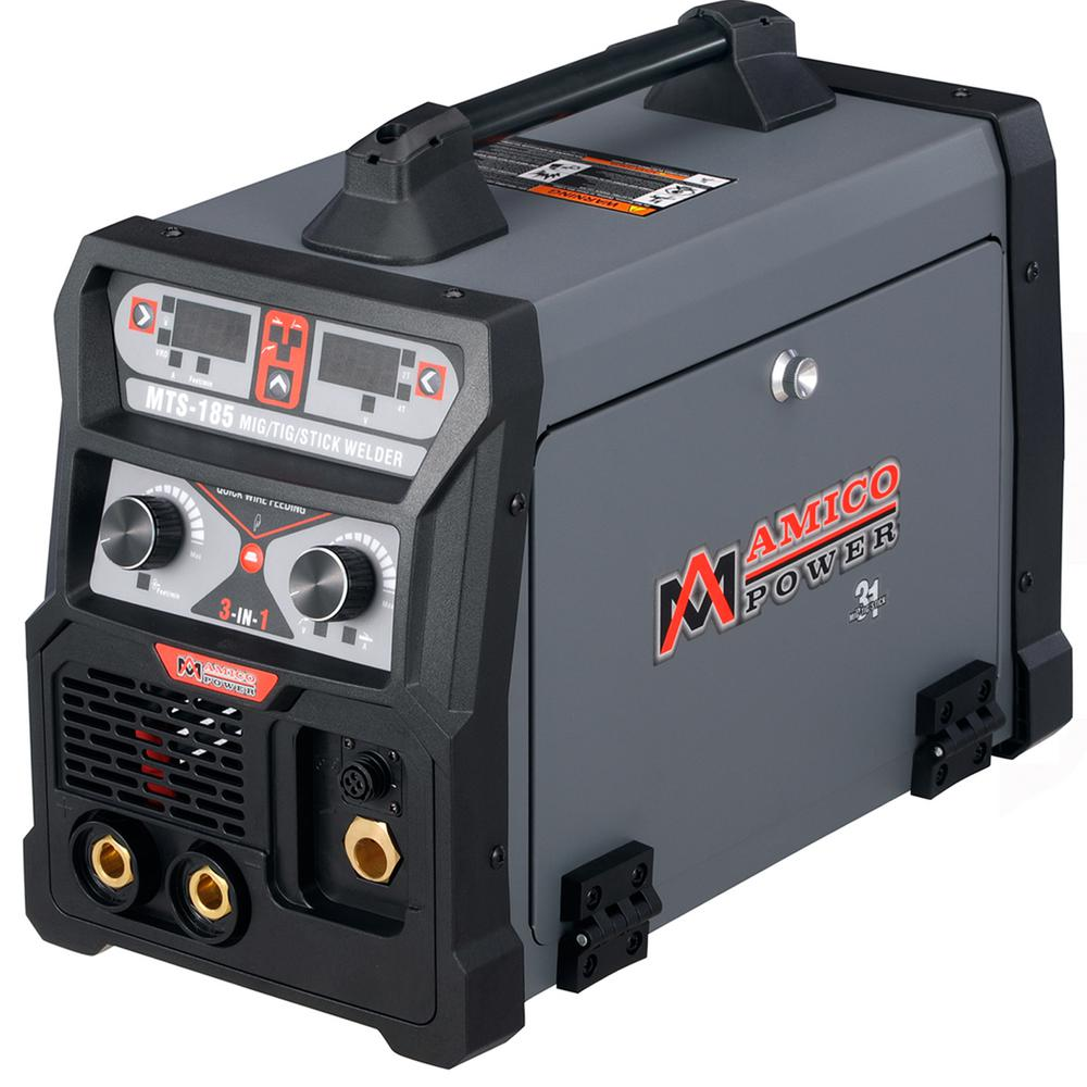 AMICO POWER 185 Amp MIG Wire Feed/Flux Core/TIG Torch/Stick Arc Welder, Weld Aluminum with 2T/4T 110-Volt/230-Volt Welding
