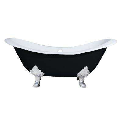 6 ft. Cast Iron Polished Chrome Claw Foot Double Slipper Tub in Black