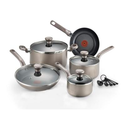 Excite 14-Piece Platinum Shimmer Non-Stick Cookware Set