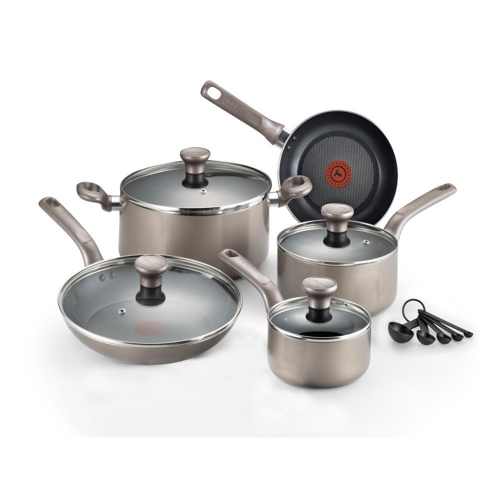 T-fal - Excite 14-Piece Aluminum Nonstick Cookware Set in Platinum